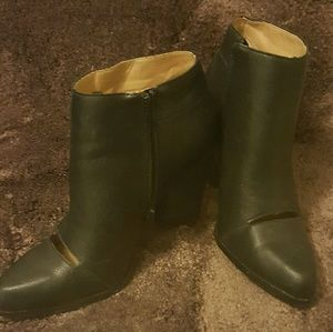 Black peep toe boots